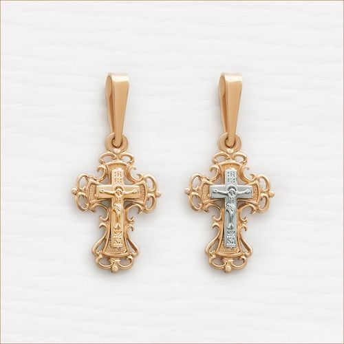Крестик из красного и белого золота