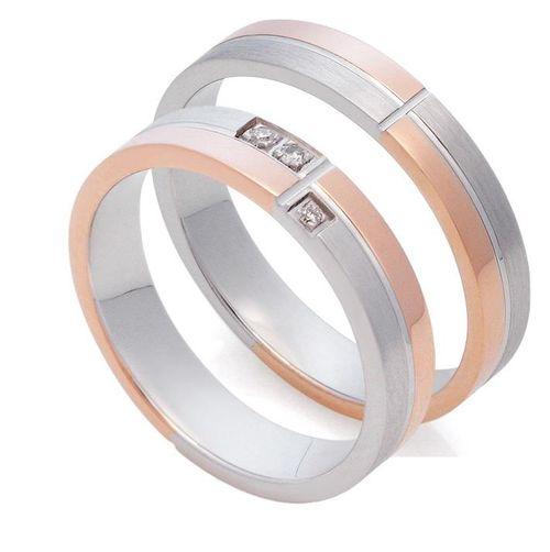 Кольца из белого и розового золота 585 пробы